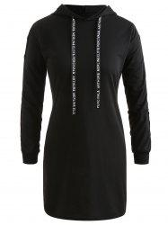 Snap Button Hooded Mini Dress -