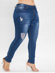 Plus Size Zipper Fly Ripped Jeans -