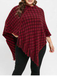 Plus Size V Neck Plaid Fringed Sweater Cape -