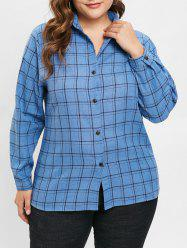 Plus Size Plain Plaid Shirt -