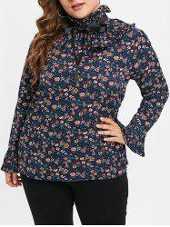 Plus Size Long Sleeves Ruffles Floral Blouse -