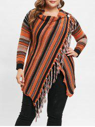 Plus Size Asymmetric Striped Cardigan with Tassel -