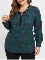Plus Size Long Sleeves Plaid Top with Lace Up -