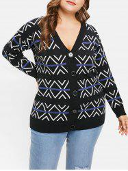 Plus Size Drop Shoulder Geometric Cardigan -