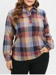 Plus Size Plaid Shirt with Half Buttons -
