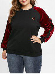 Plus Size Pullover Embroidered Sweatshirt with Velvet -