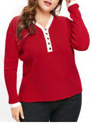 Plus Size Two Tone Sweater with Half Buttons -