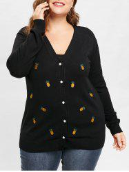 Plus Size Pineapple Embroidered Drop Shoulder Cardigan -