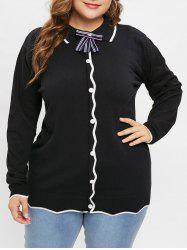 Plus Size Two Tone Sweater with Bowknot -