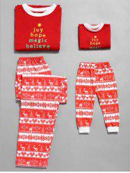 Christmas Letter Print Plus Size Family Pajamas -