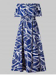 Off Shoulder Leaves Print Maxi Dress -