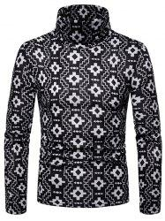 Geometric Printed High Neck Pullover Sweater -