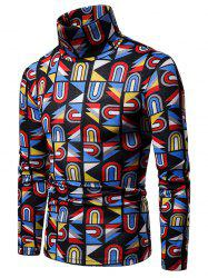 Colored Geometry Pattern High Neck Sweater -