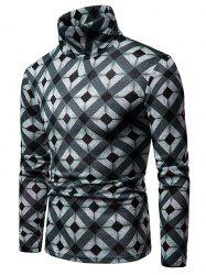 Rhombus Pattern High Neck Pullover Sweater -