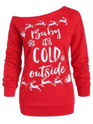 Sweatshirt graphique col rond grande taille -