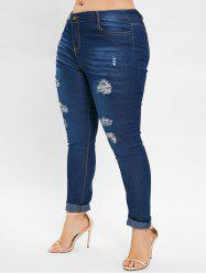 Plus Size Ripped Jeans with High Waist -