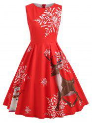 Christmas Elk and Snowflake Print Dress -