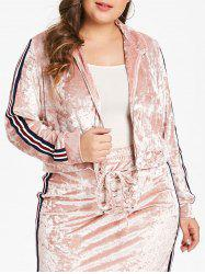Plus Size Velvet Short Jacket with Ribbons -