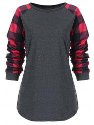 Checked Panel Raglan Sleeve Plus Size Top -