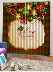 2 Panels Christmas Theme Print Window Curtains -
