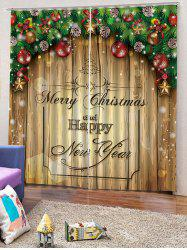 2 Panels Christmas Blessing Print Window Curtains -