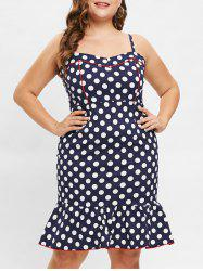 Plus Size Polka Dot Flounce Vintage Bodycon Dress -