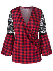 Bell Sleeve Lace Panel Plaid Blouse -