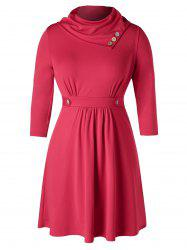 Plus Size Buttoned Heaps Collar Draped Dress -