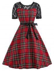 Vintage Lace Insert Plaid Pin Up Dress -