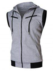 Zipper Sleeveless Hooded Tank Top -