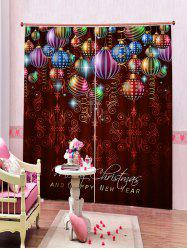 2 Panels Christmas Colorful Balls Print Window Curtains -