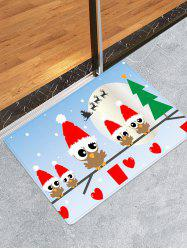 Christmas Hat Bird Heart Printed Floor Mat -
