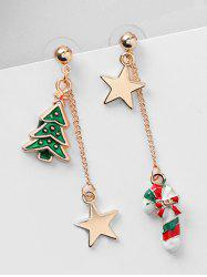 Christmas Asymmetric Candy Cane and Star Earrings -