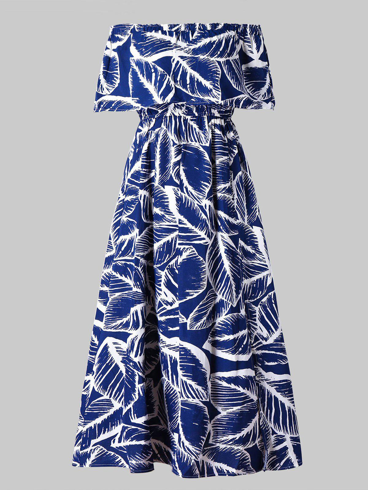 Outfit Off Shoulder Leaves Print Maxi Dress