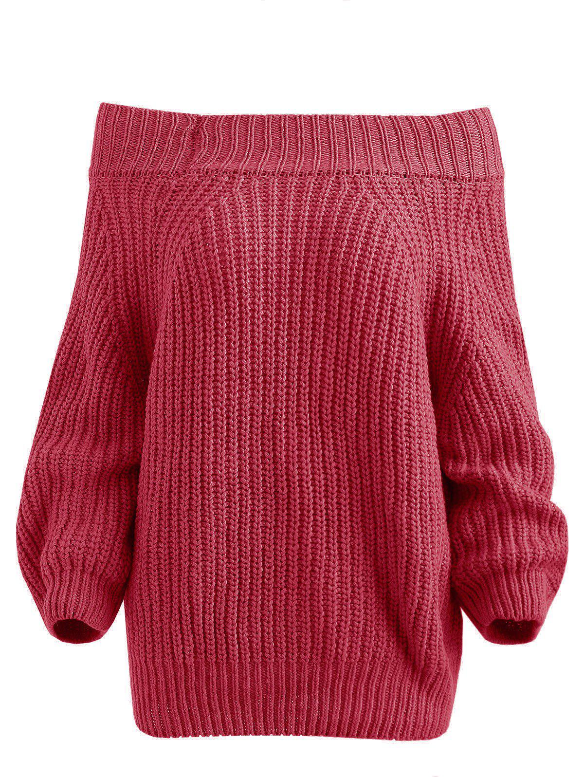 Pull Simple à Epaule Dénudée Rouge Rose XL