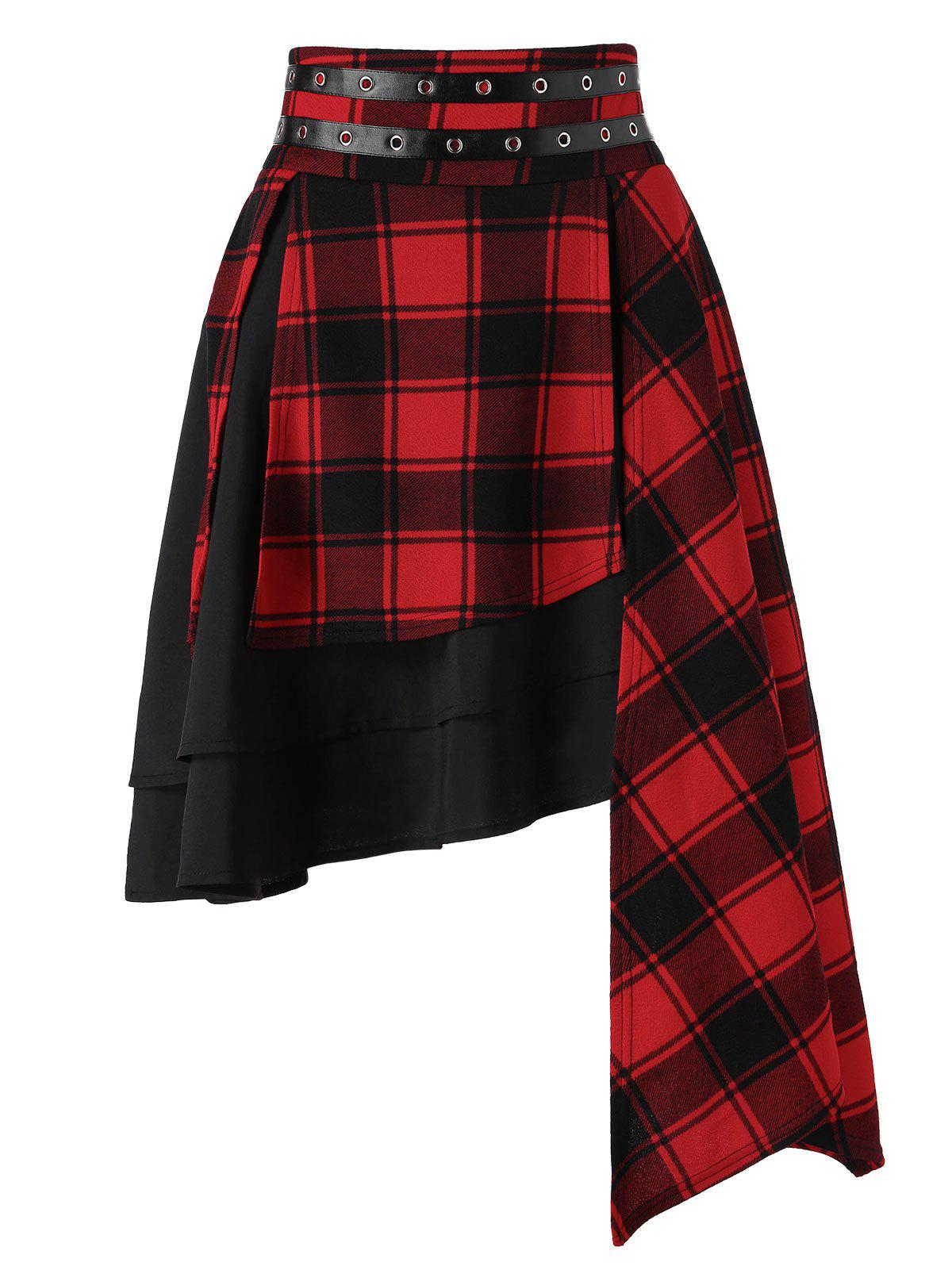 Discount High Waist Plaid Layered Asymmetrical Skirt