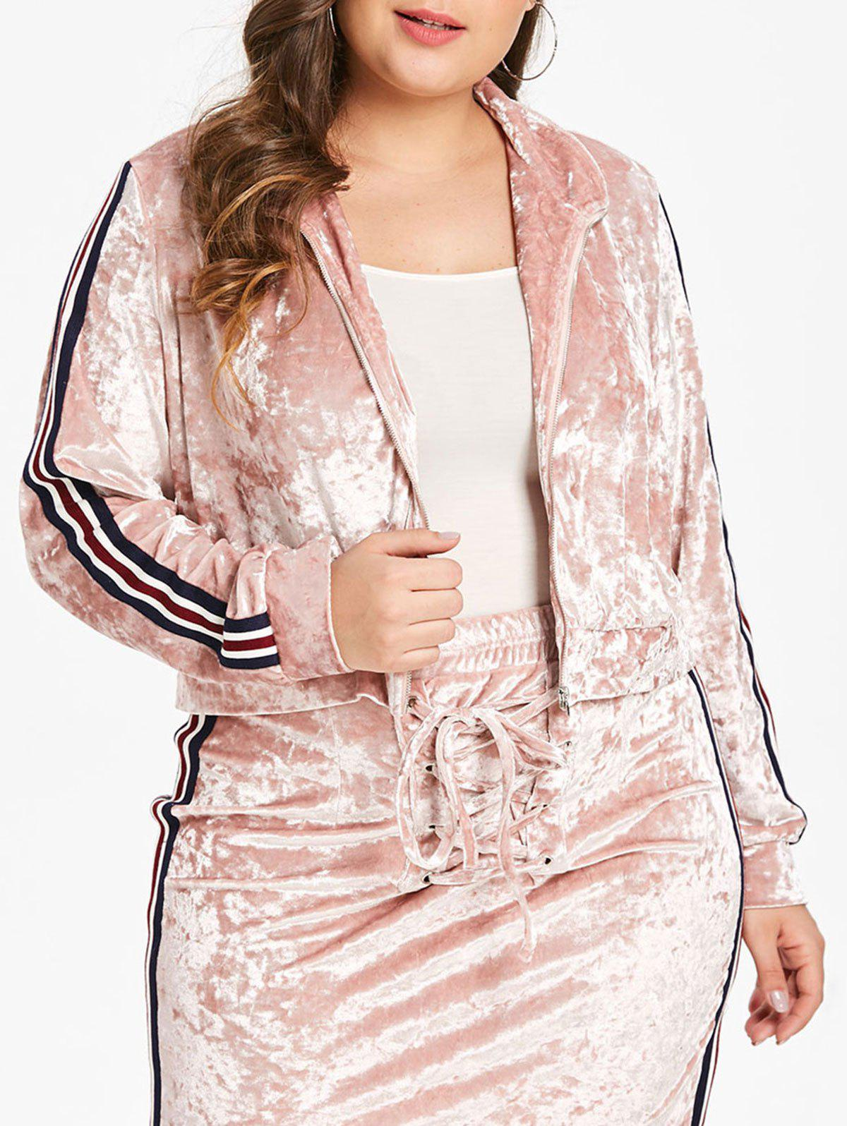 Sale Plus Size Velvet Short Jacket with Ribbons