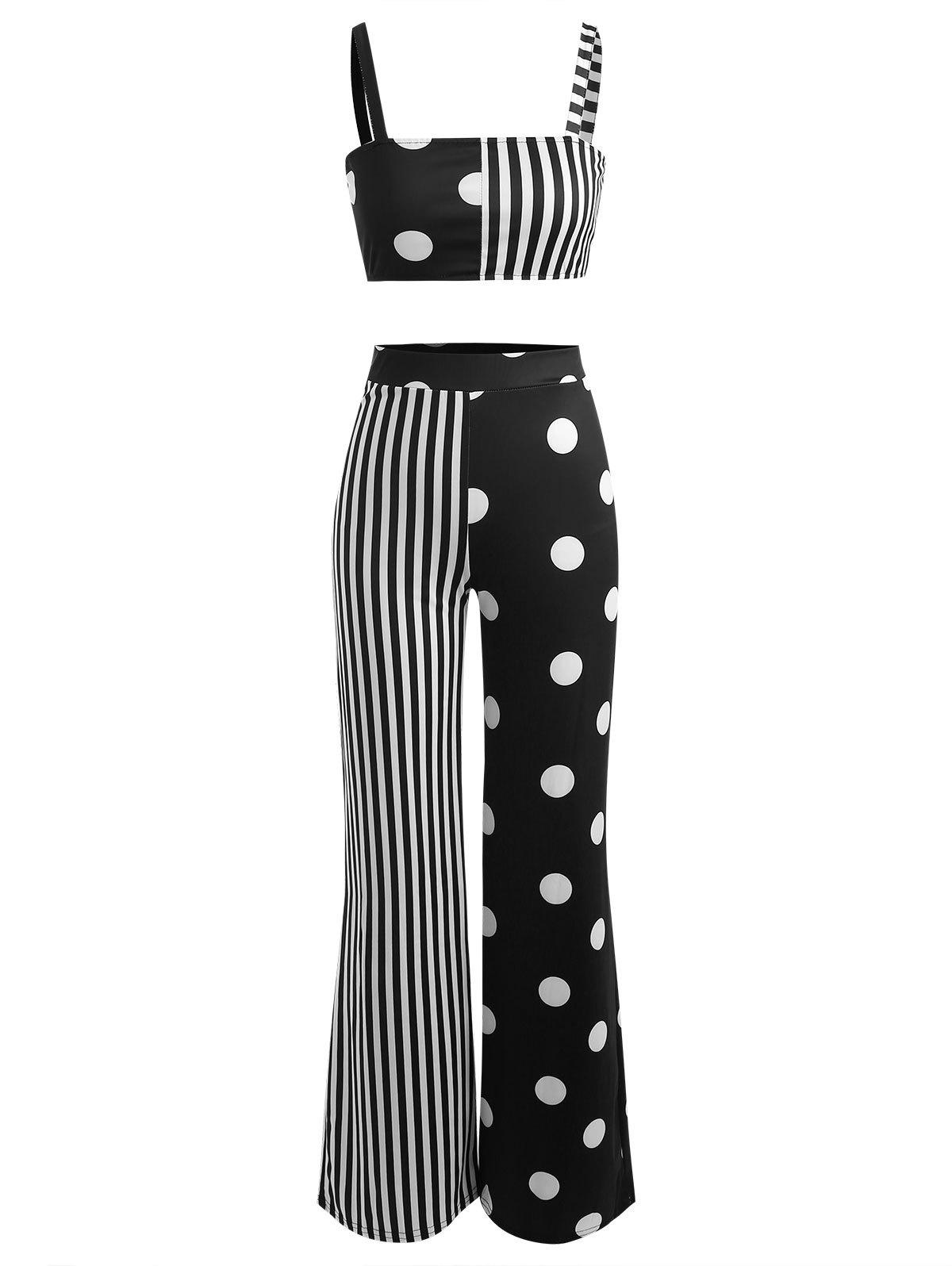 Buy Polka Dot Striped Wide Leg Pants With Crop Top