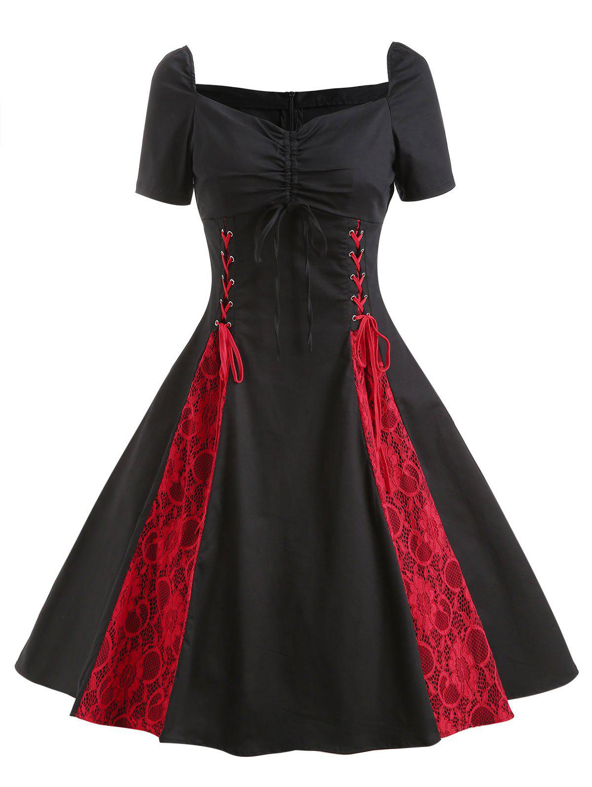 Online Vintage Lace Insert Ruched Pin Up Dress