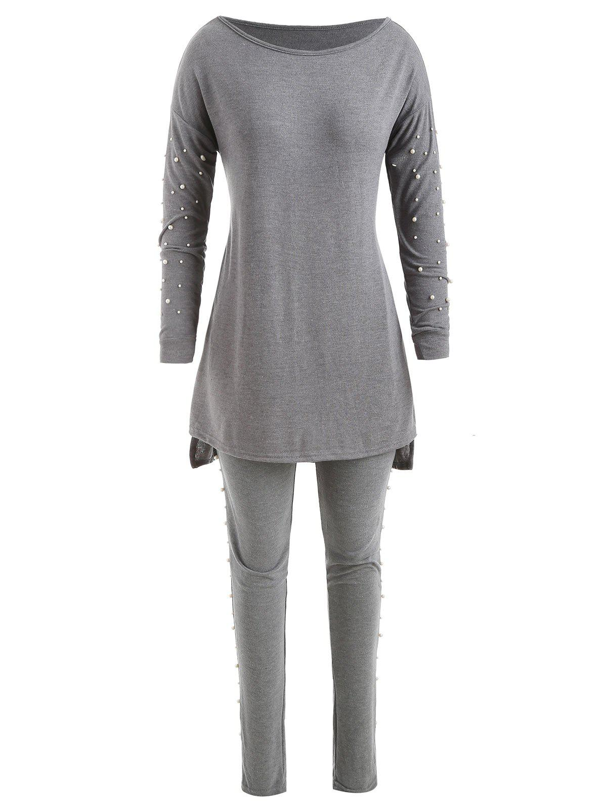 Discount Beaded High Low T-shirt With Pants