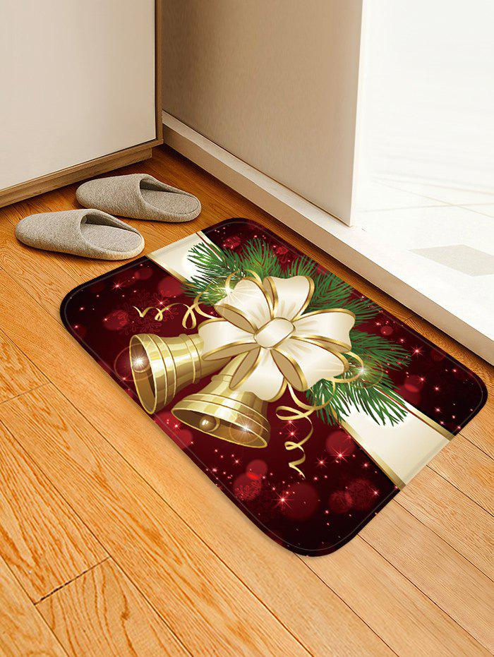 Unique Christmas Bowknot Bells Pattern Water Absorption Area Rug