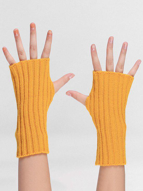 Outfit Striped Pattern Knitted Fingerless Gloves
