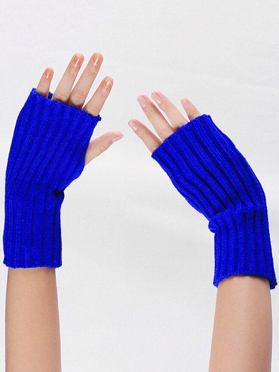 Affordable Striped Pattern Knitted Fingerless Gloves