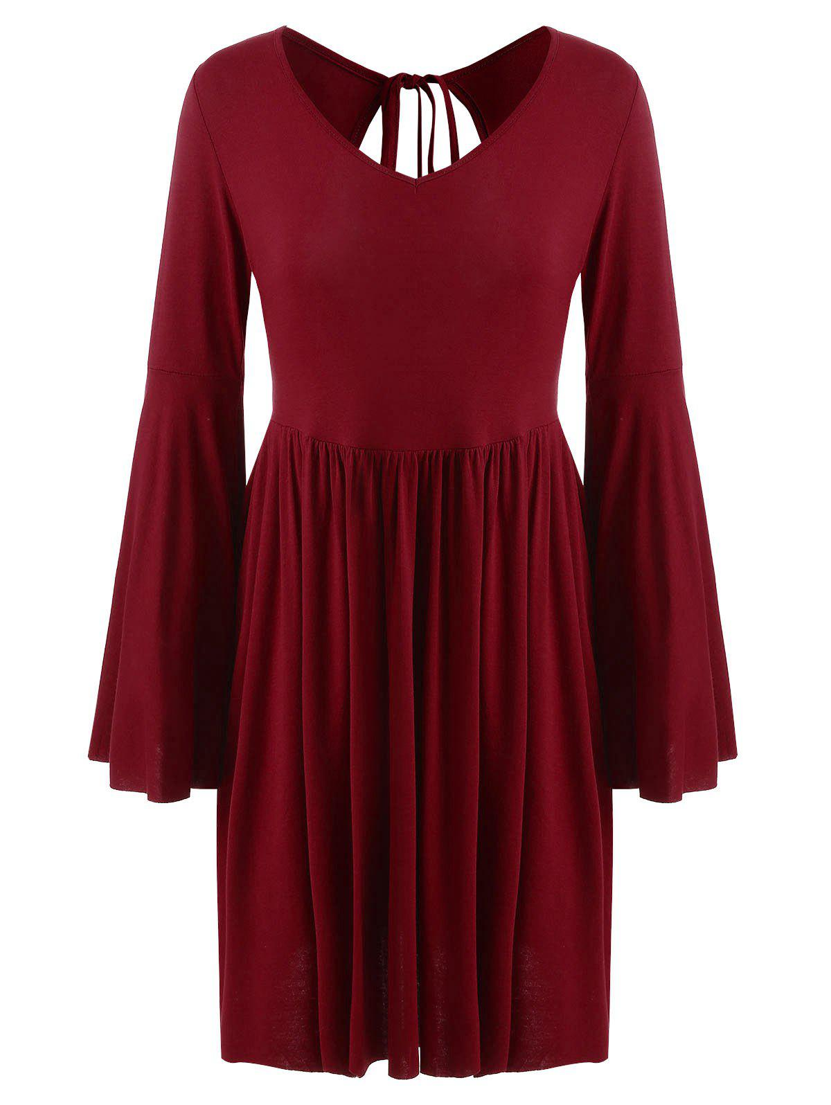 Discount V Neck Flare Sleeve Mini Dress