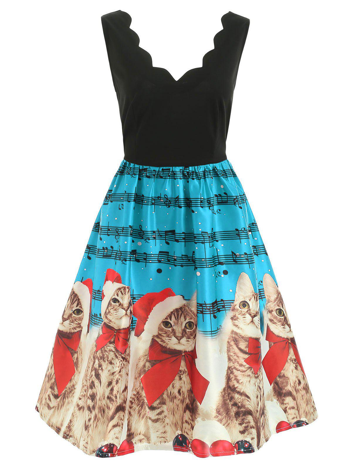Shop Christmas Musical Notes and Cats Print Dress
