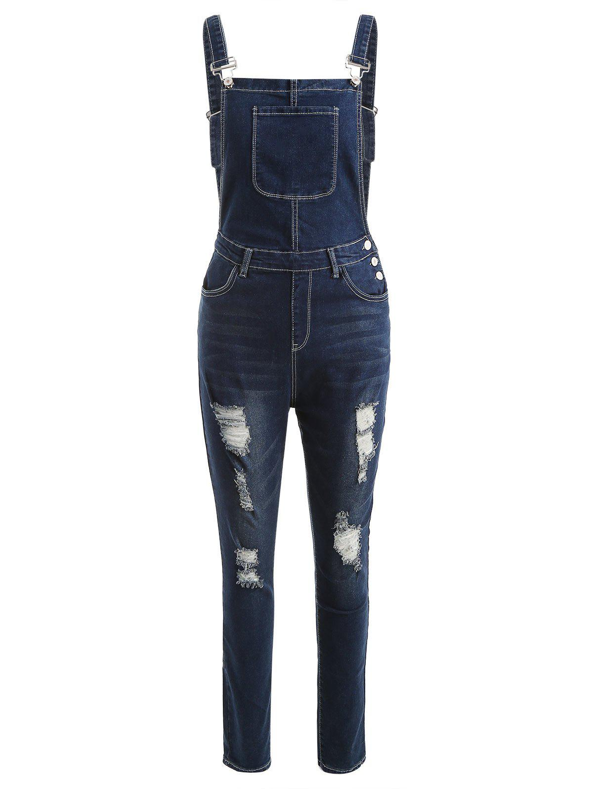 Shop Ripped Denim Suspender Pants