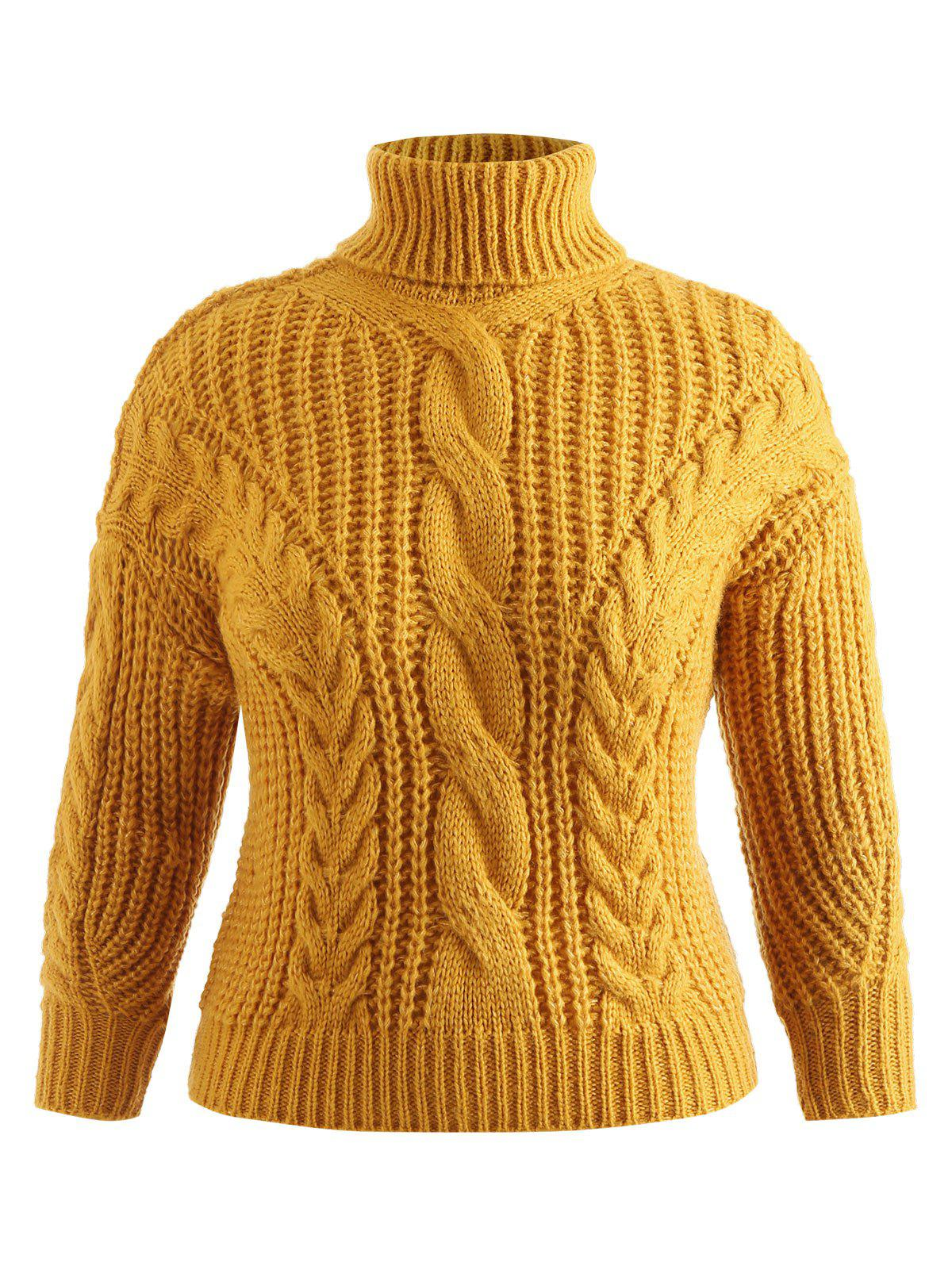 9058622300e 2019 Plus Size Turtleneck Cable Knit Sweater