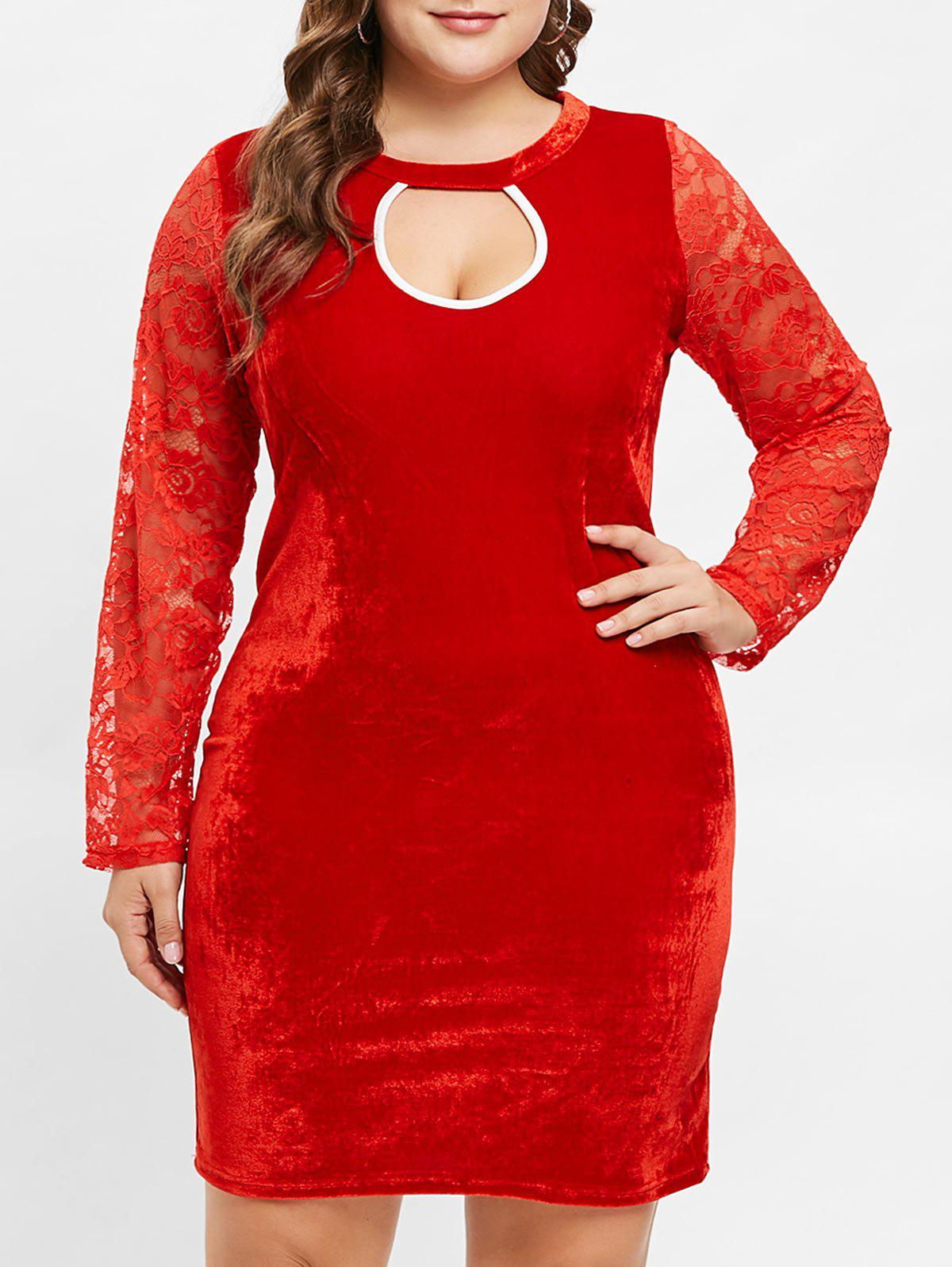 Cheap Plus Size Long Sleeves Velvet Bodycon Dress with Lace
