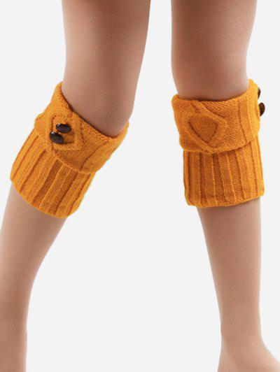 Online Buttons Side Flanging Short Leg Warmers