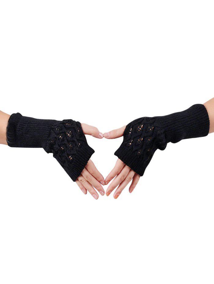 Online Winter Hollow Out Knitted Gloves